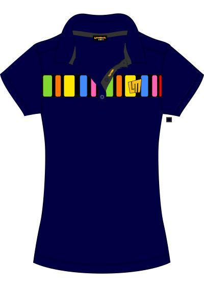 Barcode3 Navy Blue Ladies Polo