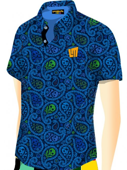 Jolly Roger Blue Print Polo